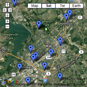 Waco Area Map